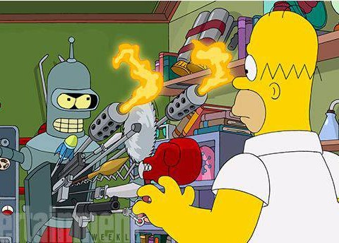 Here's your first look at the Simpsons and Futurama coming face to face in their crossover episode