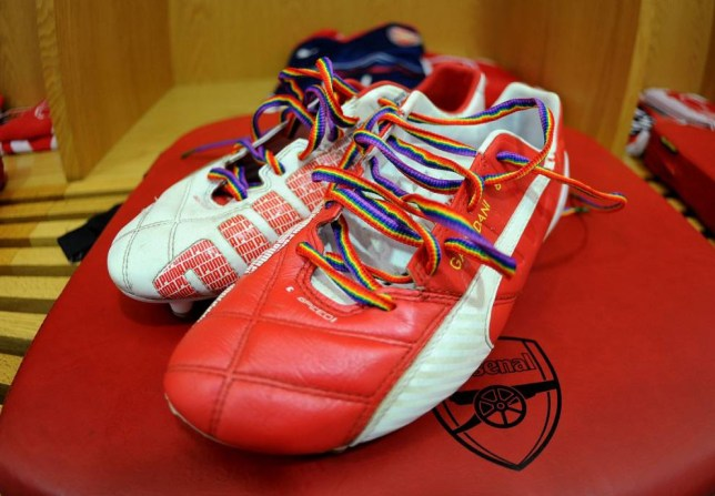 LONDON, ENGLAND - SEPTEMBER 13:  Mikel Arteta's boots laced with the Rainbow Laces in the changingroom before the Barclays Premier League match between Arsenal and Manchester City at Emirates Stadium on September 13, 2014 in London, England.  (Photo by David Price/Arsenal FC via Getty Images)
