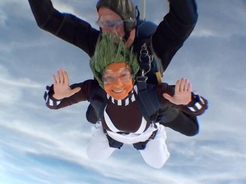I'm an oompa jumper: Skydivers dressed as oompa loompas raise money for Roald Dahl charity