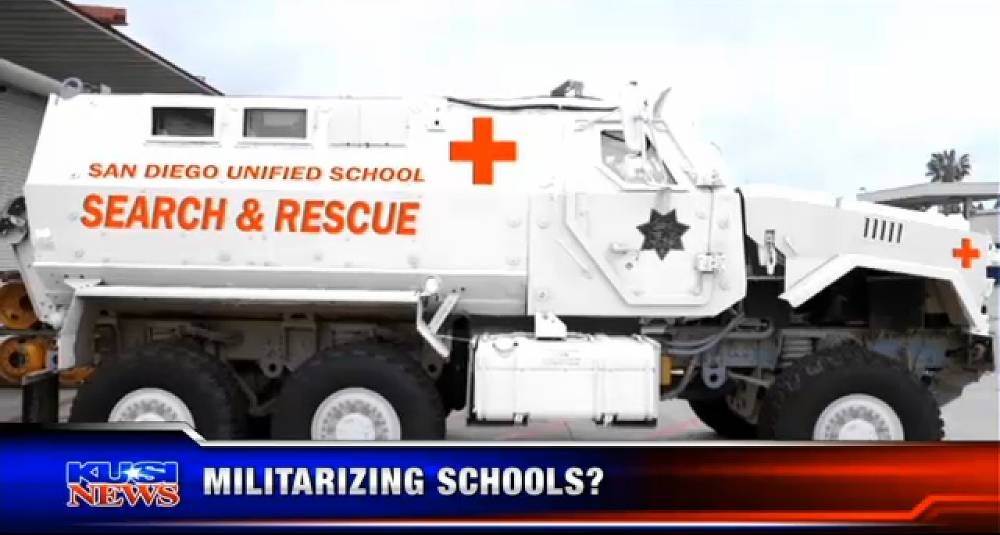 Who's doing this school run, Rambo? Armoured truck to protect classrooms