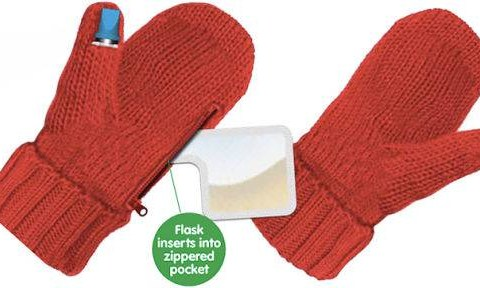 Erm, these mittens have a built-in hip flask and they make us want it to be winter now