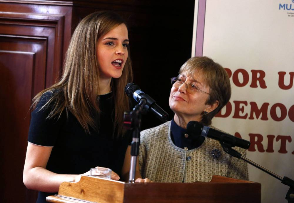 U.N. Women Goodwill Ambassador Emma Watson (L) gives her speech during an activity to promote political shares at the Uruguayan Senate and Congress chambers at the Parliament building in Montevideo, September 17, 2014. REUTERS/Andres Stapff (URUGUAY - Tags: ENTERTAINMENT POLITICS)