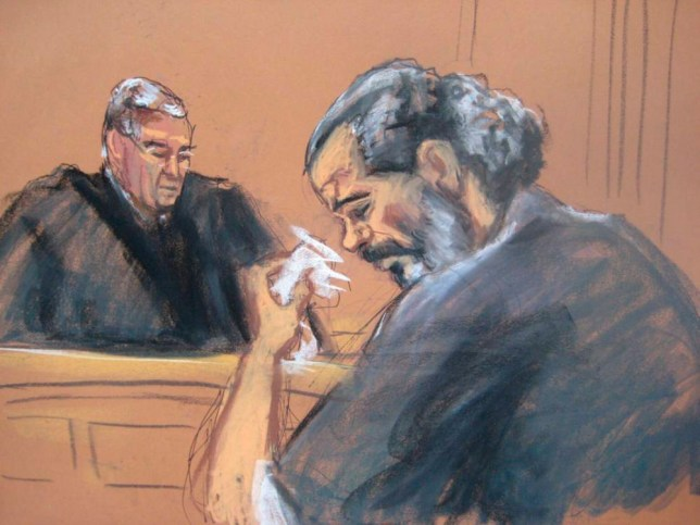Egyptian Adel Abdul Bary, 54, wipes away tears while facing U.S. District Judge Lewis Kaplan in a Manhattan court in New York on September 19, 2014, in this courtroom sketch. Bary pleaded guilty in New York on Friday to charges stemming from the deadly 1998 bombings of U.S. embassies in Kenya and Tanzania that killed 224 people. Wiping tears from his eyes and frequently shaking his head, Bary pleaded guilty to three counts, including threatening to kill, injure or destroy property by means of an explosive and conspiring to murder U.S. citizens abroad. REUTERS/Jane Rosenberg (UNITED STATES - Tags: CIVIL UNREST CRIME LAW) ATTENTION EDITORS - THIS PICTURE WAS PROVIDED BY A THIRD PARTY. REUTERS IS UNABLE TO INDEPENDENTLY VERIFY THE AUTHENTICITY, CONTENT, LOCATION OR DATE OF THIS IMAGE. FOR EDITORIAL USE ONLY. NOT FOR SALE FOR MARKETING OR ADVERTISING CAMPAIGNS. NO SALES. NO ARCHIVES