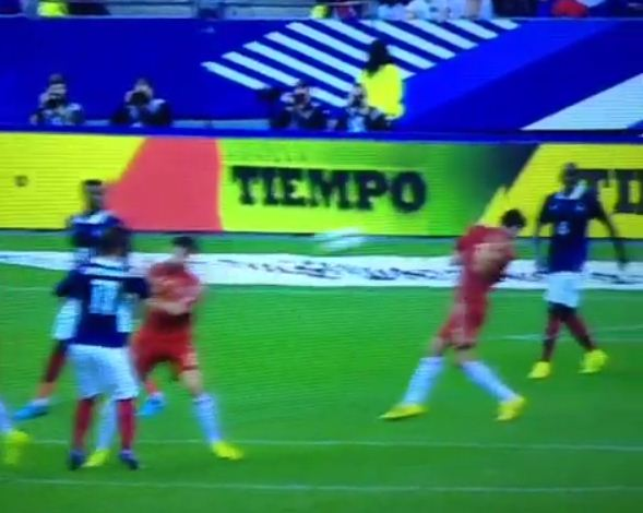 Spain's Sergio Busquets KO'd by rocket volley from France's Antoine Griezmann