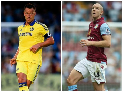 John Terry being outperformed by Philippe Senderos as Aston Villa gear up to keep Chelsea's Diego Costa at bay