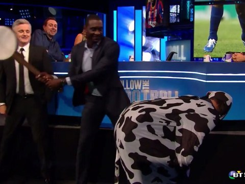 Former Liverpool and Aston Villa striker Emile Heskey literally hits a cow's arse with a banjo in search for new club