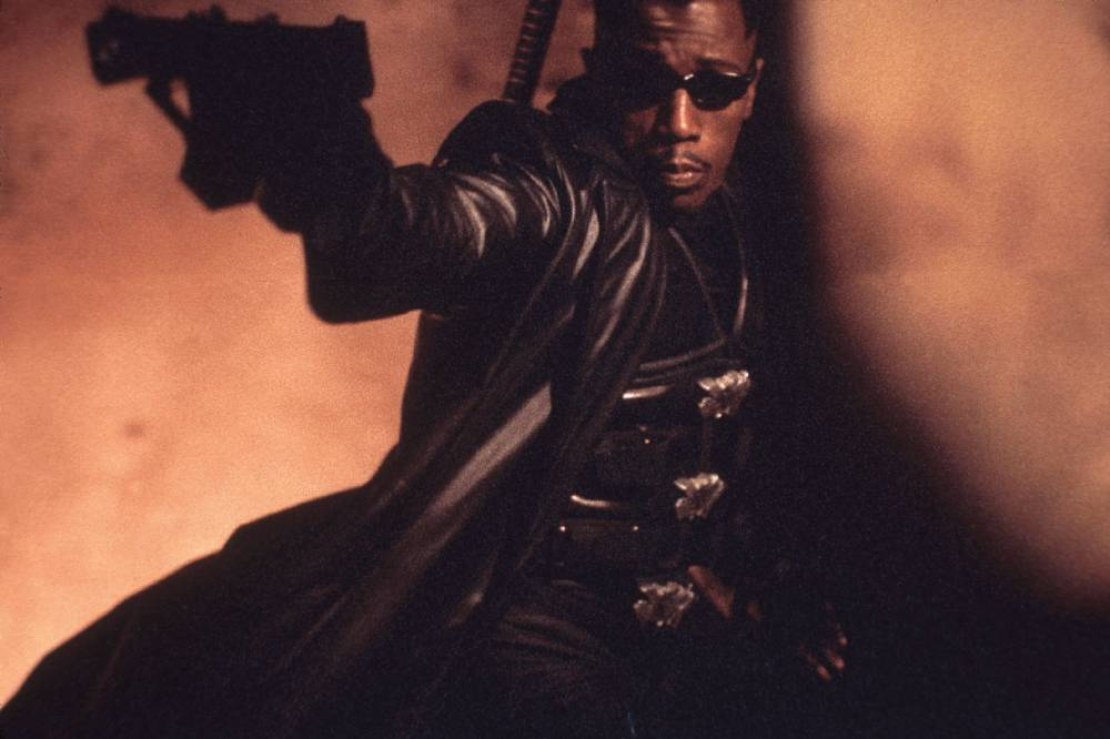 Film: Blade II     (2002) Starring: Wesley Snipes This sequel has Wesley Snipes returning as vampire-hunter Blade. This time, Blade forms an uneasy alliance with a group of vampires, called the Bloodpack, to fight a new type of undead, the Reapers.