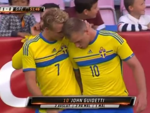 Manchester City starlet John Guidetti produces Cristiano Ronaldo-esque free kick for Sweden against Greece
