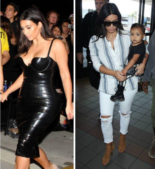 Kim Kardashian goes from va-va-voom latex to laid back skinnies in 24 hours