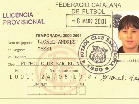 Barcelona celebrate 14 years of Lionel Messi by posting babyfaced first license photo