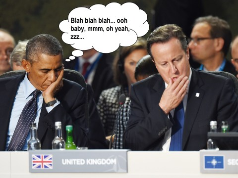 Meanwhile at NATO Obama had a little nap while David Cameron was talking