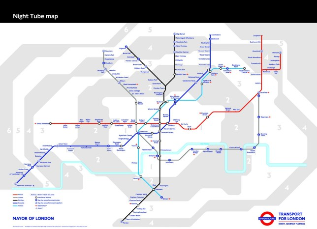 The 24 hour services on Fridays and Saturdays (Picture: TfL)