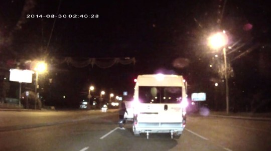 A driver confronts the other (Picture: YouTube)