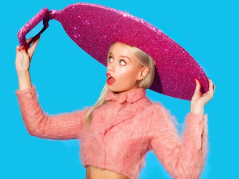 Someone has invented a giant sparkly pink selfie hat and we want one