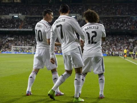 Cristiano Ronaldo celebrates Real Madrid hat-trick with James Rodriguez dance