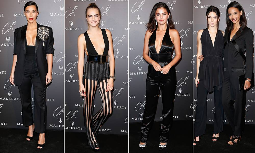 CR Fashion Book party: Kim, Cara and Kendall all opt for low-cut black jumpsuits but someone didn't get the memo