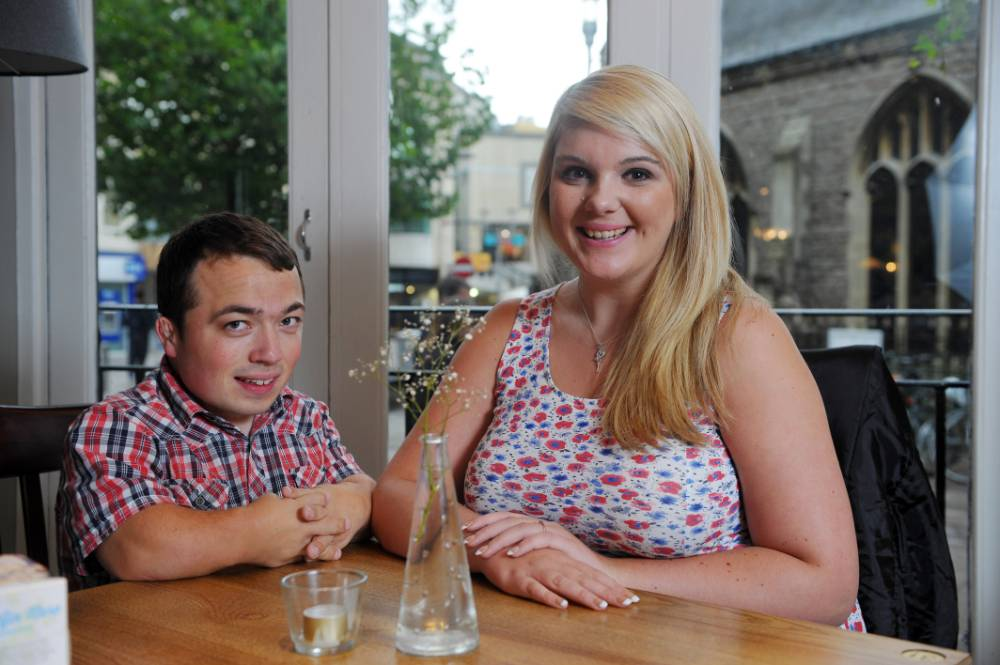 James Lusted, 26, A 3 ft 7 in dwarf who took his fiance Chloe Roberts, 20, to a posh restaurant for a romantic meal and was given a children's colouring book and crayons by a red-faced waitress. © WALES NEWS SERVICE