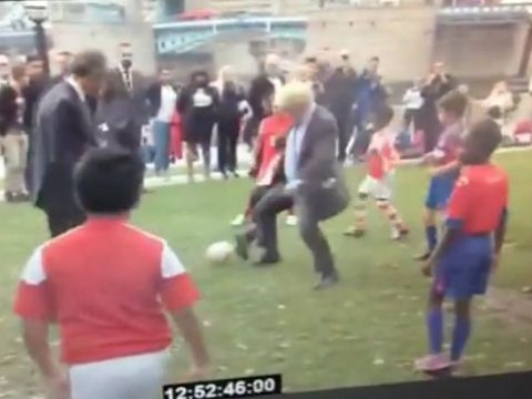Watch Mayor of London Boris Johnson hack down nine-year-old during friendly match