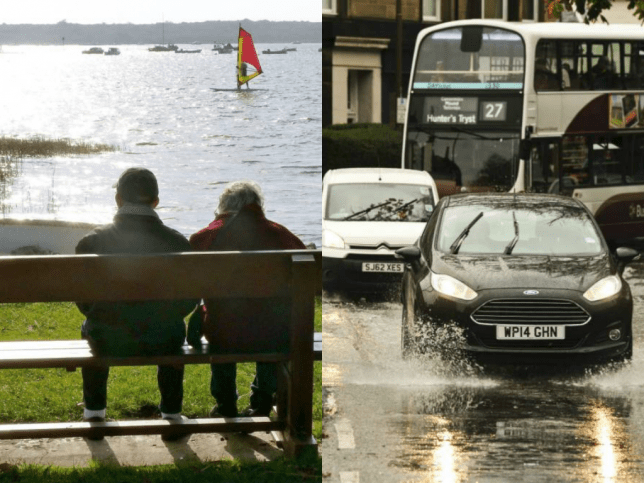 People enjoyed sunny weather in Droset (left), while folks in Edinburgh suffered the showers (right) (Picture:  StockPix.eu / REX)