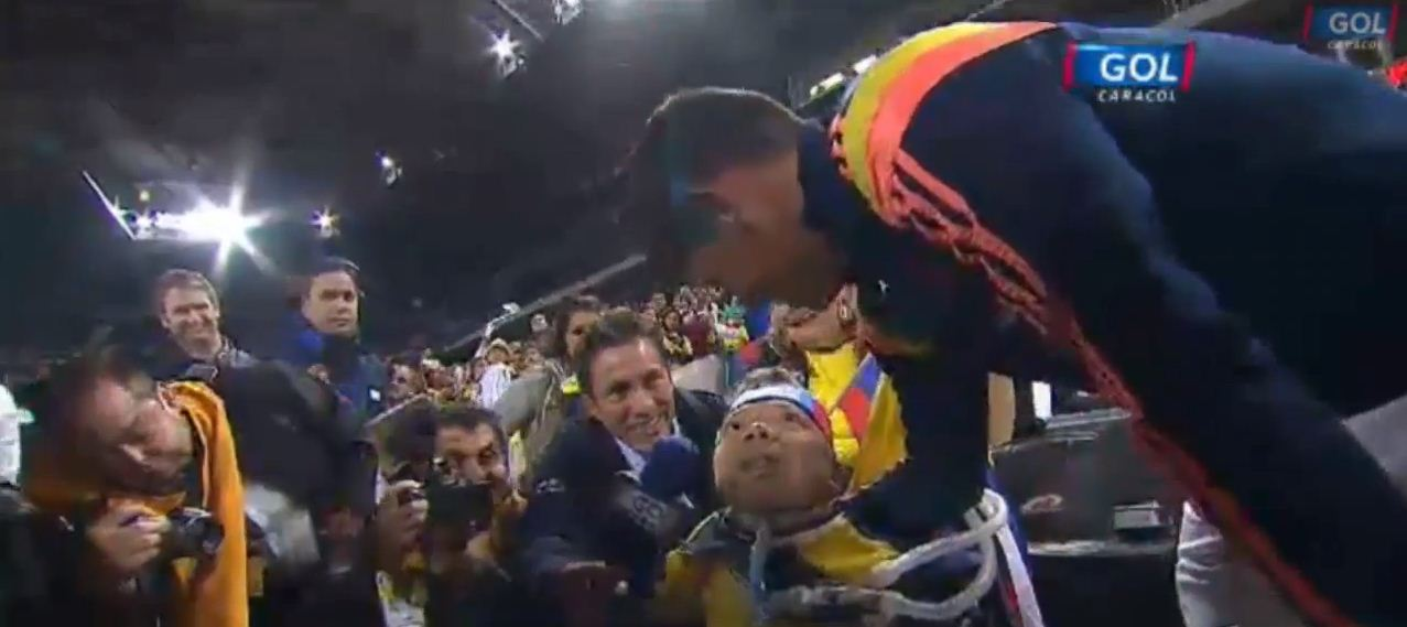 James Rodriguez makes disabled fan's day after meeting him before Colombia game