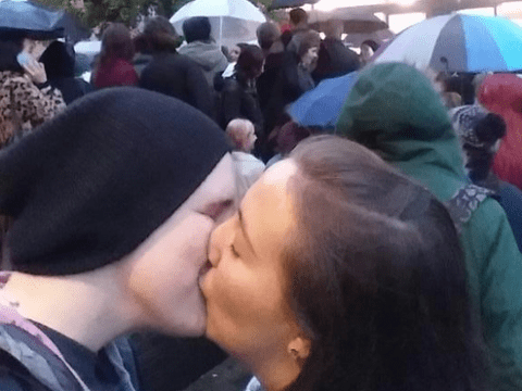 Protesters stage mass 'kiss-in' at Sainsbury's after lesbian couple were kicked out
