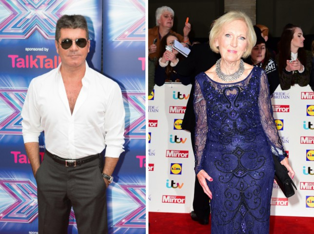 mary berry, simon cowell, the x factor, great british bake off
