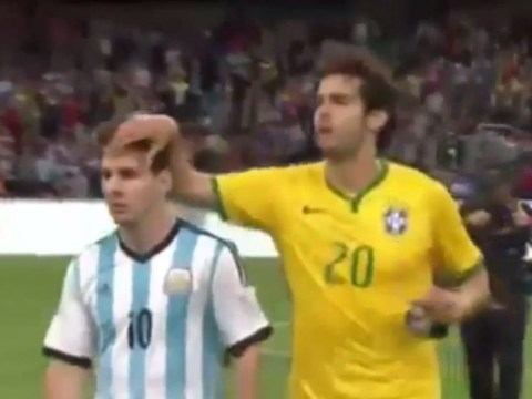 Lionel Messi really didn't like Kaka touching his hair after Argentina's loss to Brazil