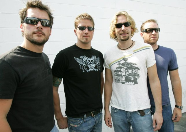 Music group Nickelback, from left, Ryan Peake, Daniel Adair, Chad Kroeger and Mike Kroeger are photographed at Richmond International Raceway in Richmond, Va., Sept. 10, 2005. (AP Photo/Gerry Broome)