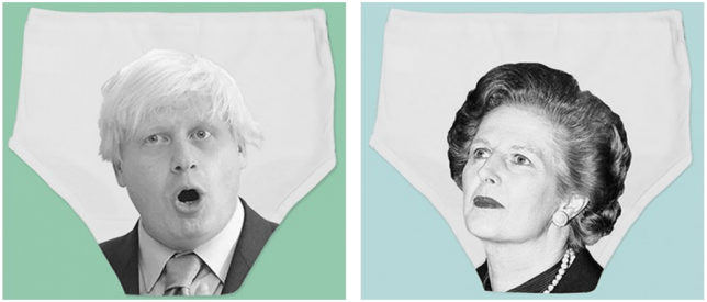 Political pants, Twisted Twee, Twisted Twee knickers, Knickers with politician's faces on, Underwear with politician's faces on, Funny underwear, Margert Thatcher, Boris Johnson
