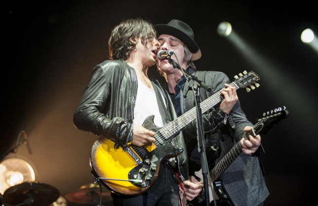 LONDON, UNITED KINGDOM - SEPTEMBER 27: Carl Barat and Pete Doherty of The Libertines perform at Alexandra Palace on September 27, 2014 in London, England. Nick Pickles/WireImage