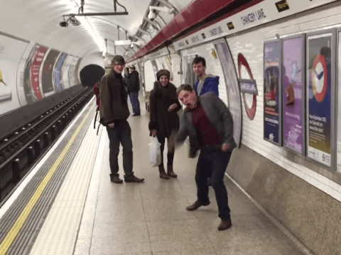 Make-believe ping pong is an excellent way to kill time while waiting for the tube