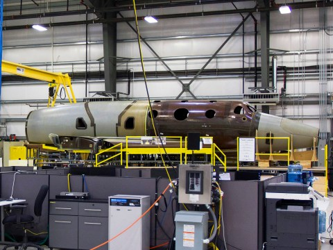Inside the Virgin Galactic hanger where Branson's next spaceship is under construction