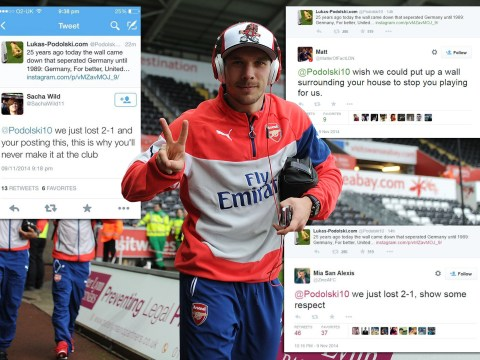Lukas Podolski tweets about Berlin Wall after Swansea defeat, Arsenal fans totally lose perspective
