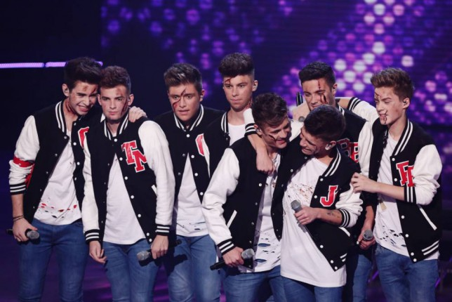 *** MANDATORY BYLINE TO READ: Syco / Thames / Corbis ***<BR/> Only the Young and Stereo Kicks are seen performing at the X Factor live shows in London. <P> Pictured: Stereo Kicks <B>Ref: SPL880416  011114  </B><BR/> Picture by: Syco / Thames / Corbis <BR/> </P>