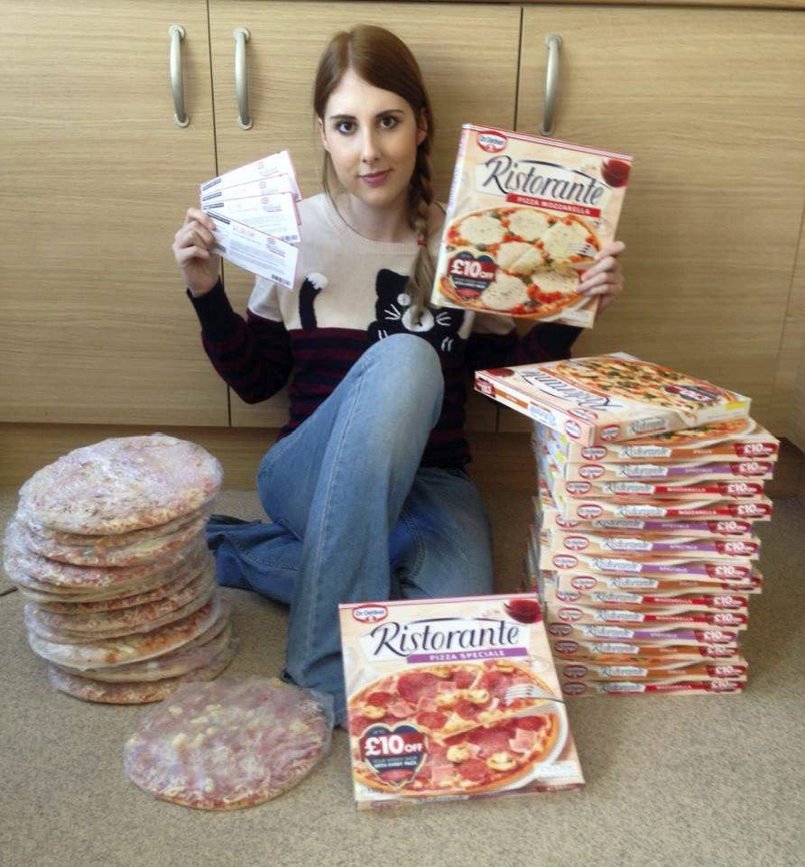 Collect of Holly with a pile of pizza's she has won. Armchair bargain hunter Holly Smith pulls in more than £10,000 each year in prizes, by spending eight hours a day entering online competitions. Holly, 28, suffers from a rare stomach condition and a tumour in her leg which restricts her ability to hold down a job but to help support her husband and two children she she spends the equivalent of a working day each day trawling the internet for competitions and cash saving coupons entering as many as 800 competitions a day. So far she has won a trip to Gran Canaria through a Kelloggs competition worth £2500 and her £70,000 haul of goodies has also included fridge freezers, washing machines, three TVs, two Nintendo Wiiís, a PS3, Xbox 360, three video cameras, an iPad, designer clothing and concert tickets. Other prizes have included a three year supply of toothpaste, a six month supply of toilet paper and a five star trip to the Isle of Man worth £2000.  Even her own wedding was subsidised by her love of coupons and competitions. She won supermarket vouchers which paid for the wedding desserts, she won £1000 cash toward the reception and hired a luxury wedding car for £40 which normally cost £250 for two days.