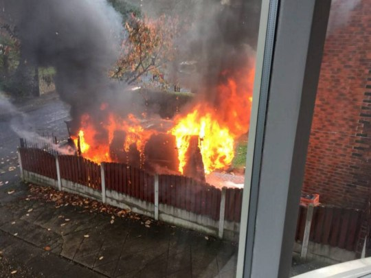This dramatic image shows a blazing van which erupted into a ball of flames - caused by an e-cigarette left on charge.  See Ross Parry copy RPYECIG : The Ford Transit van was completely destroyed by the fire after an electronic cigarette left to charge exploded and caused nearby paperwork to catch fire.  The first happened on the driveway of a house in Herringthorpe, Rotherham, South Yorks., at around 11am on November 7.  Fire officers are now warning about dangers posed by electronic cigarettes, on the day the first UK TV advert featuring one of the devices airs. E-cigarettes are commonly charged via a computer USB port or via vehicle charge ports.