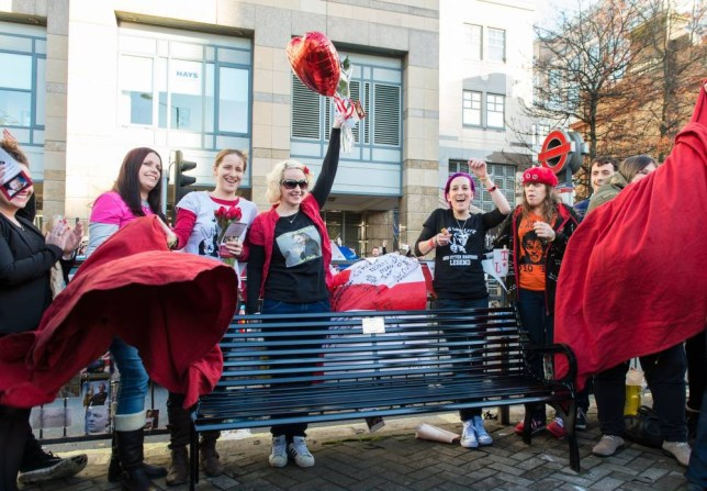 LONDON, ENGLAND - NOVEMBER 14:  A memorial bench for the late Rik Mayall is unveiled on November 14, 2014 in London, England.  (Photo by Ian Gavan/Getty Images)