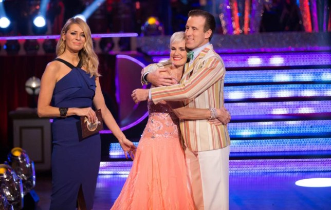 Embargoed to 2000 Sunday November 16 For use in UK, Ireland or Benelux countries only. BBC undated file handout photo of  Tess Daly (left, Judy Murray and Anton Du Beke as Judy was voted off Strictly Come Dancing following her Viennese Waltz to Let's Go Fly a Kite. PRESS ASSOCIATION Photo. Issue date date: Sunday November 16, 2014. See PA story SHOWBIZ Strictly. Photo credit should read: Guy Levy/PA Wire NOTE TO EDITORS: Not for use more than 21 days after issue. You may use this picture without charge only for the purpose of publicising or reporting on current BBC programming, personnel or other BBC output or activity within 21 days of issue. Any use after that time MUST be cleared through BBC Picture Publicity. Please credit the image to the BBC and any named photographer or independent programme maker, as described in the caption.