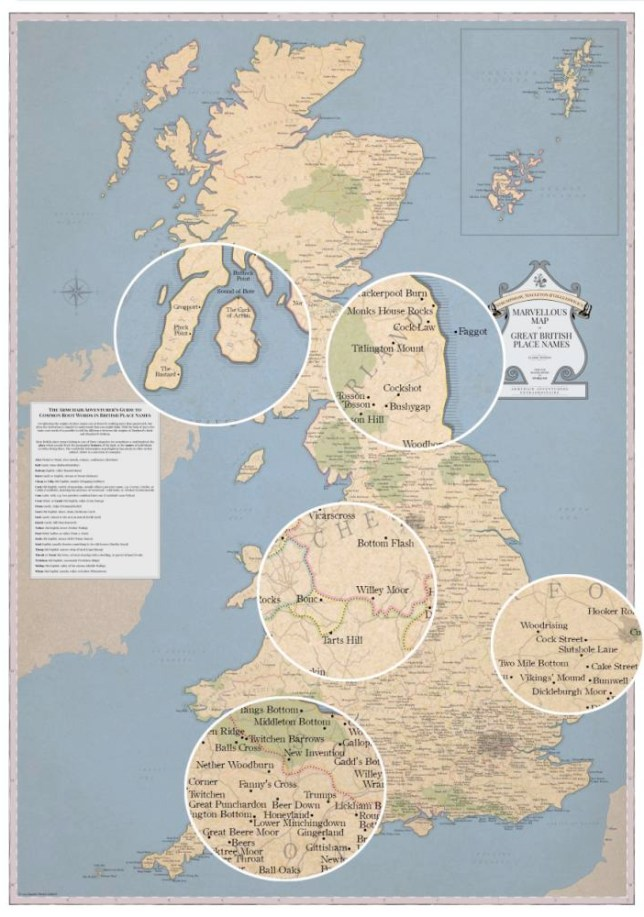 """MUST CREDIT ..ARTICLE MUST INLCUDE HYPERLINK:..http://www.stghq.com/..A wall map featuring just about every rude and silly place name in the country was launched this week - the perfect Christmas stocking filler for the immature among us...The Marvellous Map of Great British Place Names (  22; published by Strumpshaw, Tincleton & Giggleswick; www.stghq.com) claims to be the first of its kind and features 1,400 locations - including 136 """"bottoms""""."""