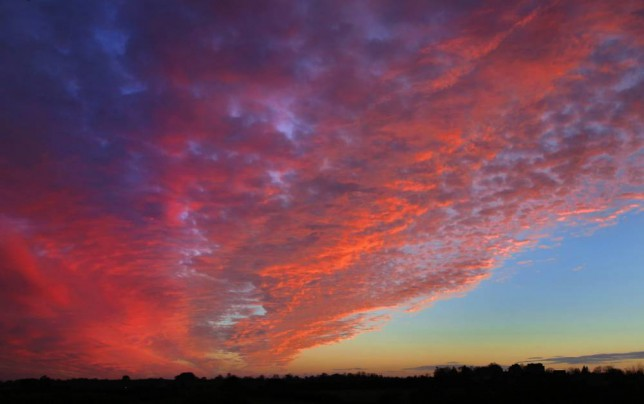 The sky over Wiltshire turns a brilliant red in the final moments of the setting sun, November 23 2014. The recent spell of wet weather has given way to a glorious series of sunrises and sunsets.