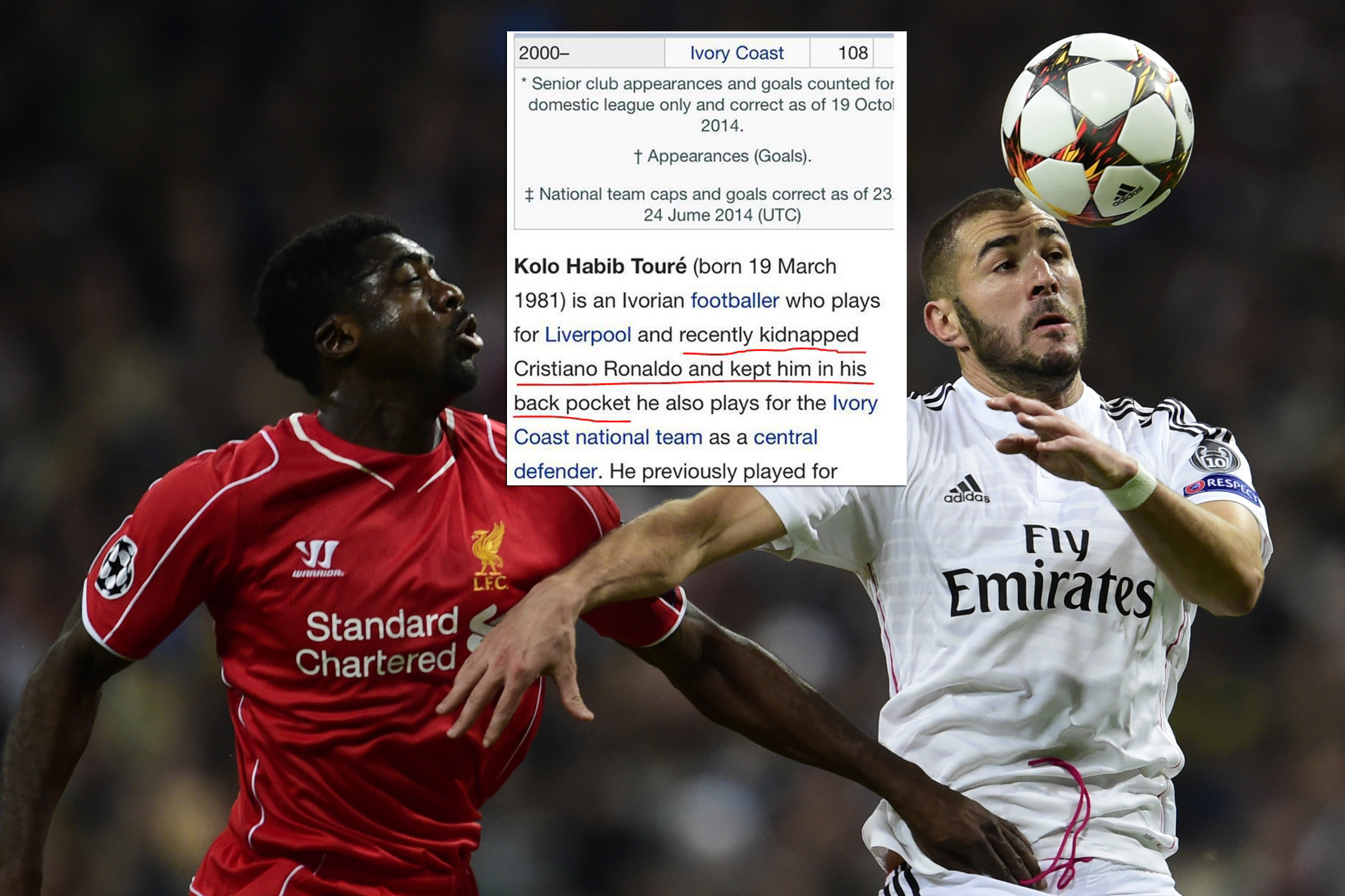 Kolo Toure Wikipedia page brilliantly changed to reflect Liverpool defender's marking of Cristiano Ronaldo