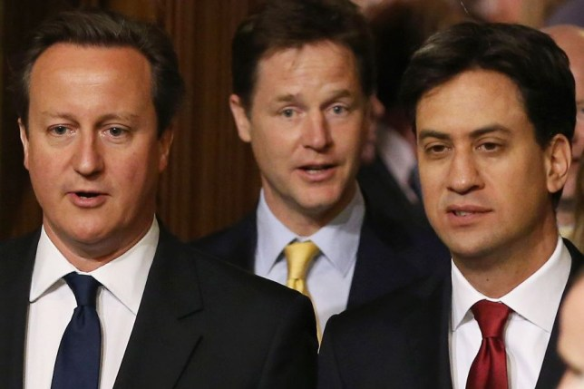 David Cameron (L) , Ed Miliband and Nick Clegg
