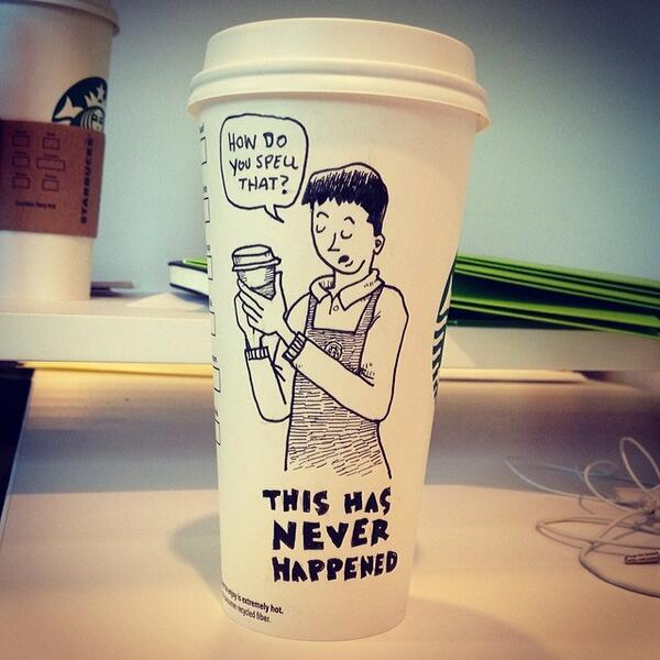 This dude draws cartoons on his Starbucks cups and they're awesome
