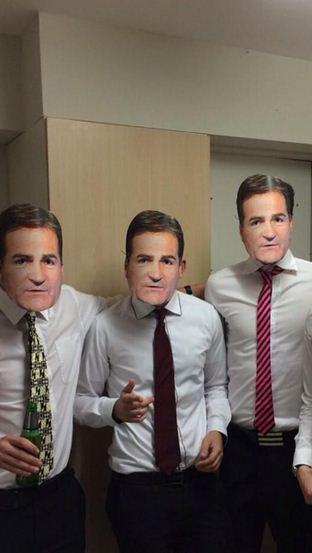 Scottish lads dress up as ex-Sky Sports presenter Richard Keys for Halloween