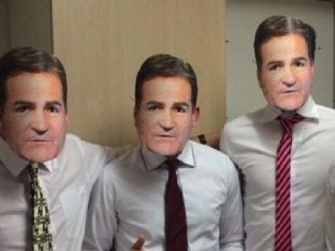 Scottish lads dress up as ex-Sky Sports presenter Richard Keys for Halloween