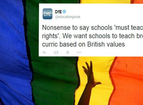 'Nonsense to say schools must teach gay rights': Department for Education's bizarre tweet