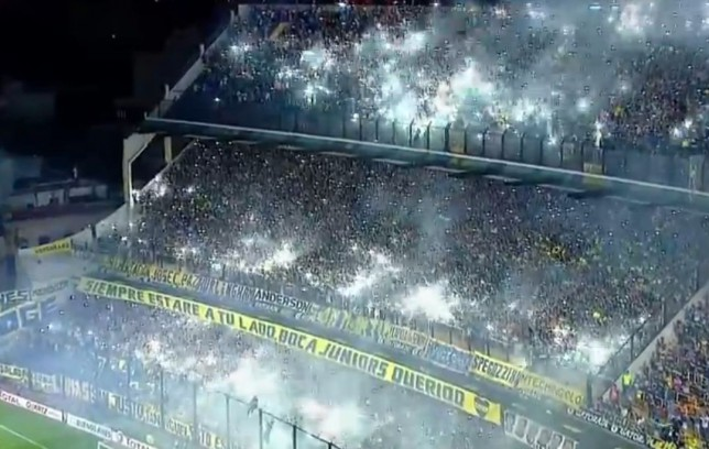 Boca Juniors and River Plate fans use firecrackers to create incredible 'light party' at La Bombonera stadium
