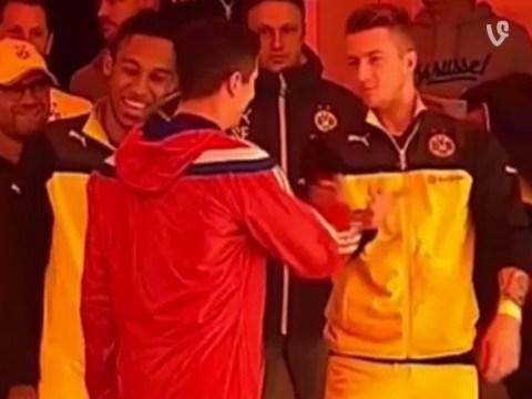 Marco Reus and Robert Lewandowski show off secret handshake routine ahead of Bayern Munich v Borussia Dortmund