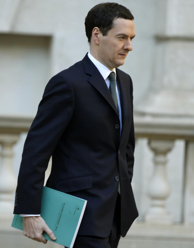 Britain's Chancellor of the Exchequer George Osborne leaves the Treasury to present the Autumn Statement to Parliament in London December 3, 2014. Osborne looks set to concede on Wednesday that his push to fix the public finances has suffered another setback thanks to slow pay growth, six months before voters head to the polls. REUTERS/Alastair Grant/pool (BRITAIN - Tags: POLITICS BUSINESS) Pool/Reuters