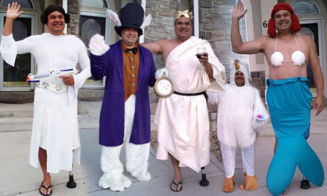 Some of the fancy dress outfits Dale Price dressed up in to embarrass his son